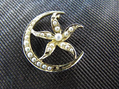 Lovely Moon Brooch with Flower and Seed Pearls