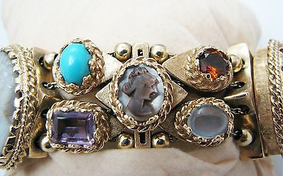 Vintage Unique Cameo Bracelet with Watch in 14k Yellow Gold