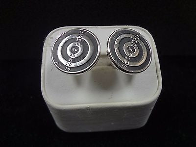 Handsome Vintage Swank Archery Target Silver tone Cuff links