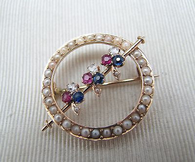 14k Yellow Gold Seed Pearl Circle Brooch with Diamonds, Rubies, and Sapphires