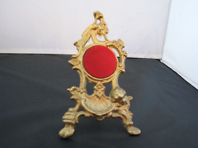 Nice Brass Pocket Watch Display Stand with a Hook and Red Felt Backing for Watch