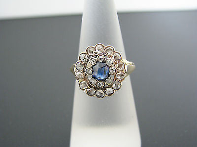 Stunning Vintage Ring with Center Sapphire & Rose Cut Diamonds in 14k YG