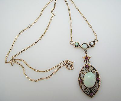 Beautiful Vintage Opal and Ruby Necklace in 14 & 10k Gold