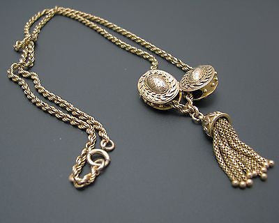 Stunning Vintage 10k Yellow Gold Necklace with Slides and Dangle