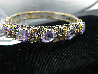 Amazing 14k Yellow Gold Hinged Bangle Bracelet with Oval Amethyst Stones