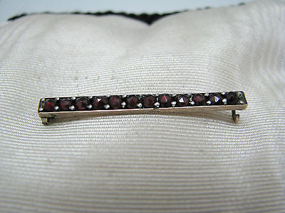 Lovely Vintage Gold Filled Bar Brooch Featuring Dark Red Stones