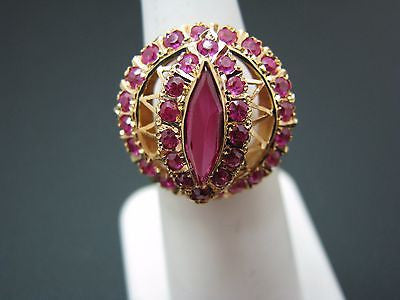 Beautiful Pink Tourmaline Cocktail Ring in 10k Yellow Gold