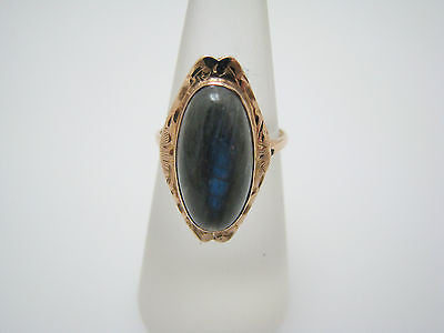 Unique Vintage Ring w/ Oval Turquoise Stone surrounded by Seed Pearls in 10k YG