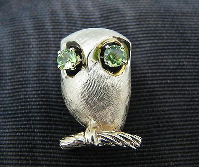 Vintage 14k Yellow Gold Owl with Peridot Eyes