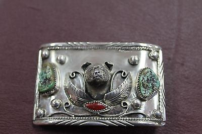 VINTAGE NATIVE AMERICAN STYLE - STERLING SILVER - BEAR BELT BUCKLE