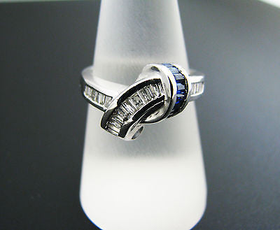 Beautiful Baguette Diamonds and Sapphires Knot ring in 14k White Gold