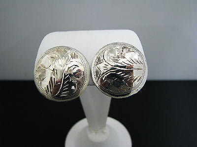 Pretty Sterling Silver Etched Button Earrings