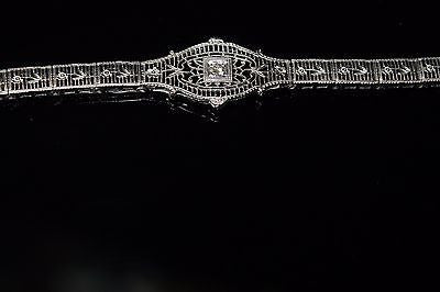 1920's Diamond Bracelet in 14K White Gold with Flowers down the Band