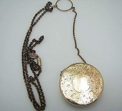 "Beautiful Gold filled Chatelain Pill Box on a 22"" Chain"