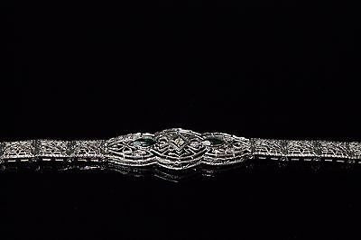 1920's Diamond and Marquis Emeralds Bracelet in 14K White Gold
