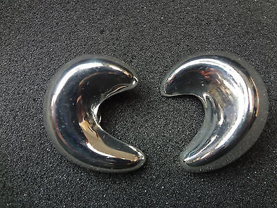 Beautiful Modern Design Sterling Silver Half Circle Clip on Earrings