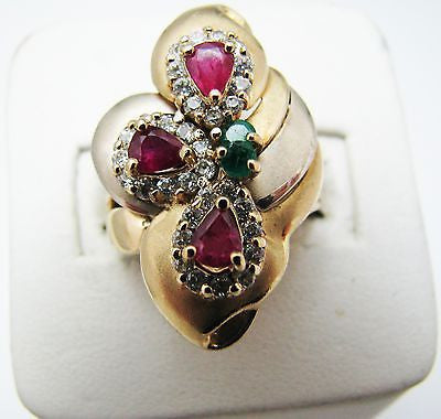 ONE OF A KIND Diamond, Ruby and Emerald Ring in 14k Yellow Gold