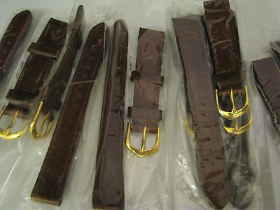 Lot of 10 Brown Leather Watch Bands 14 mm