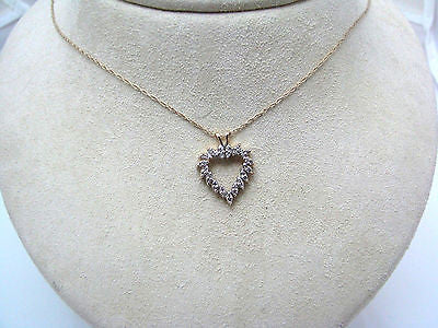 Gorgeous Heart Pendant Encrusted with Diamonds in 14k Yellow Gold