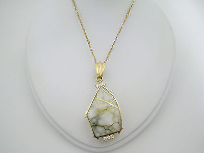 Amazing White Stone Pendant with 14k Gold Inlay on a 14K Yellow Gold Chain