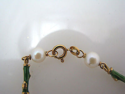 Beautiful Pearl and Enameled Bamboo 18k Yellow Gold Bracelet