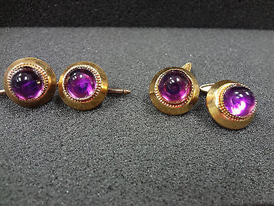 Vintage Men's Cufflinks and (2) Shirt Studs/ Purple plastic stone