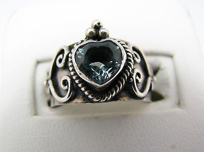 Wide Sterling Silver Band with Blue Heart Shaped Stone