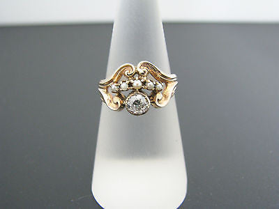 Stunning Vintage Ring with Center Diamond & Seed Pearls in 10k YG