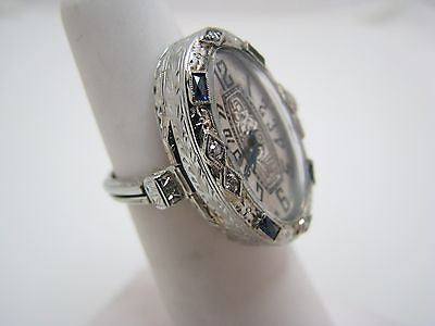 Vintage Unique 1930s Ebel W. Co. Ring Watch/ 20k White Gold