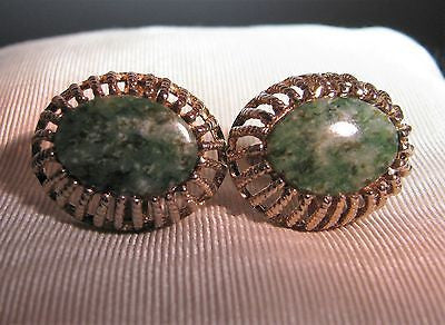 Vintage JML Cufflinks in Sterling Gold Plate with Jade Stones