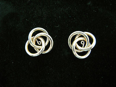 Stunning Three Circles Entwined 14k Yellow Gold Earring Jackets