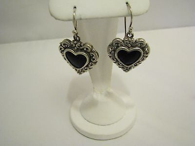 Pretty Sterling Silver Heart Shaped Earrings with Black Onyx