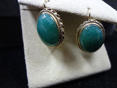 Vintage Jade Pierced Earrings in 14k Yellow Gold