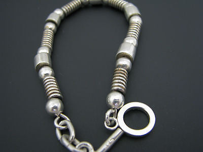 Lovely Sterling Silver Bracelet with Saucer Beads, Ball Beads, and Tube Beads
