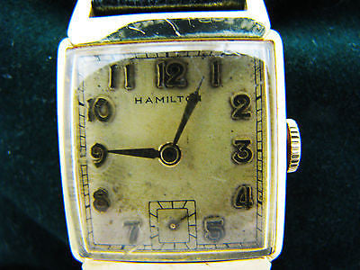 Vintage 1940's 14k Gold Filled Hamilton Watch with Leather Strap