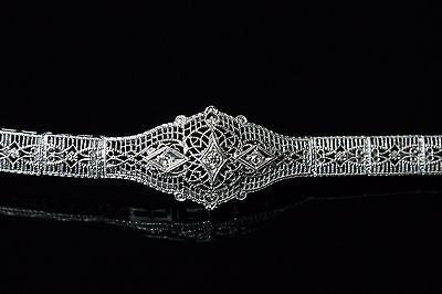1920's Three Diamond Bracelet in 10K White Gold