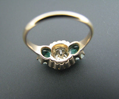 Gorgeous Vintage .82 ct Diamond and Seed Pearl Ring in 14k Yellow Gold