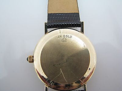 Handsome Men's Jules Jurgensen Slimline quartz Watch in 14k Gold