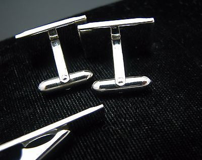Vintage Silver Tone Tie Bar and Cuff Links, Unsigned