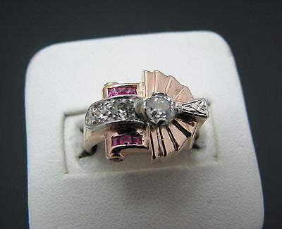 Unique Vintage 14k Rose Gold Ring set with Rubies and Diamonds