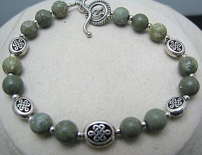 Lovely Connemara Irish Marble and Silver Celtic Knot Necklace & Bracelet Set