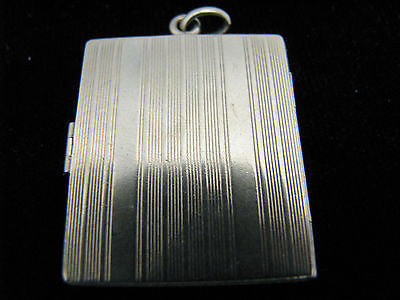 Beautiful Book Style 14k Yellow Gold Locket with Etched Stripes