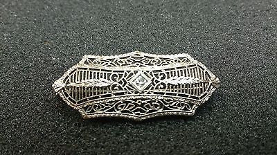Astounding Ornate 14k White Gold Filigree Pin / Brooch with Diamond
