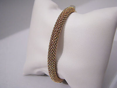 Unique Stunning 18k RG Bangle Bracelet with One Side Covered in Tiny Rose Balls