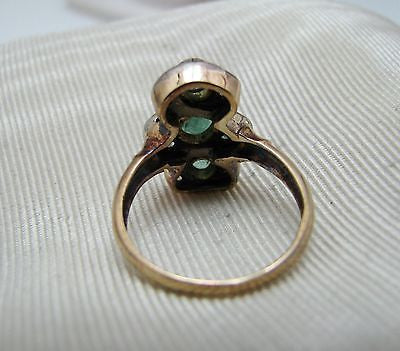 Vintage 18k Yellow Gold Emerald and Diamond Ring