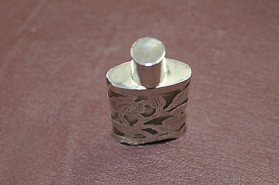 Vintage 1940-50s - Mexican - Silver Overlay Engraved Miniature Perfume Bottle