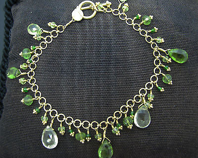 Stunning 22k Yellow Gold Link Bracelet with Round & Pear Shaped Peridot
