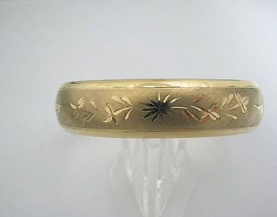 Beatiful Gold Filled Hinged Bracelet with an Etched Flower Design Brushed Finish