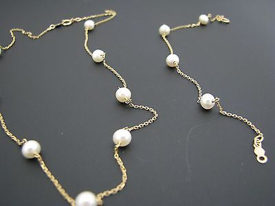 Pretty Chain and Freshwater Pearl Necklace in 14k Yellow Gold w/ Bracelet