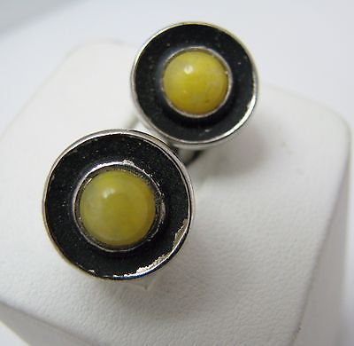 Vintage Small Round Cuff links with Center Yellow Stone